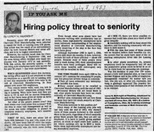 Flint Journal Article