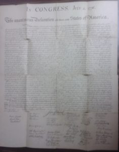 Original McKnight Copy Of The Declaration Of Independence