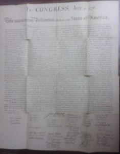 Original McKnight Copy Of The Declaration Of Independence